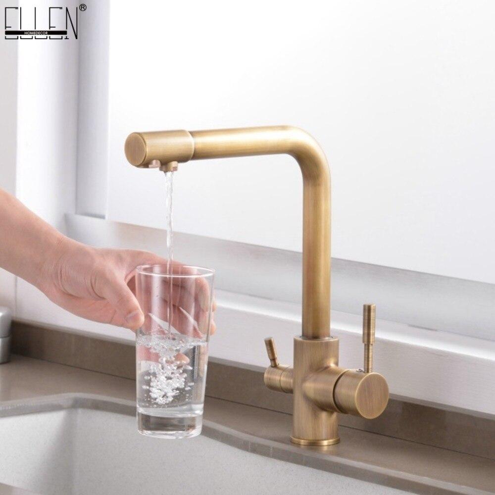 Robinets de cuisine en laiton massif grue pour cuisine filtre à eau purifiée robinet trois voies évier mélangeur 3 voies cuisine robinet ML91