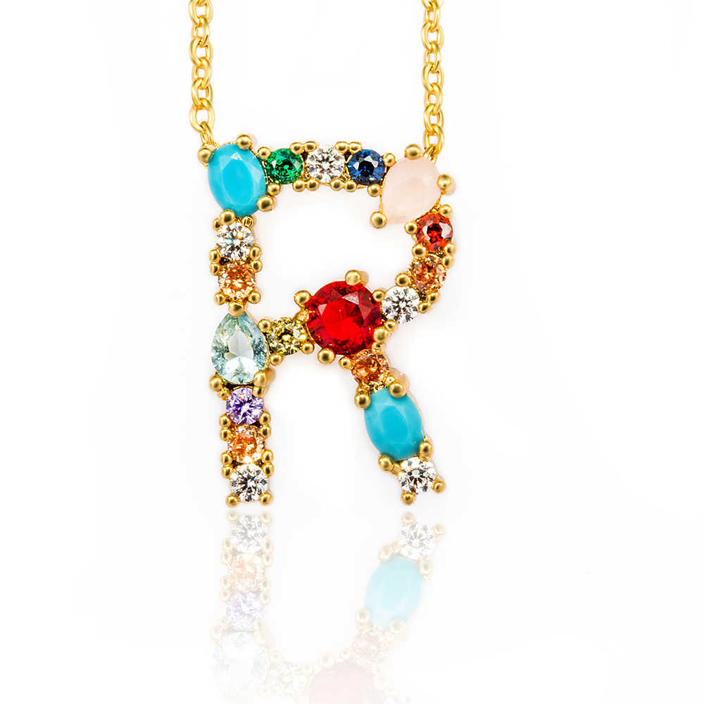1pcs Wholesale multicolor CZ charm necklace fashion 26 Gold Alphabet letter pendant necklace micro pave zircon letter necklaces