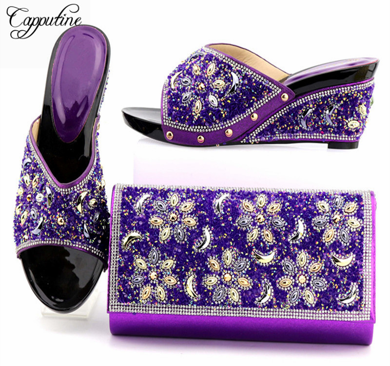 Capputine Hot Selling Italian Style High Heels Shoes And Bag Set New Arrival Rhinestone Ladies Shoes And Bag Set Size 38-42 capputine new arrival fashion shoes and bag set high quality italian style woman high heels shoes and bags set for wedding party