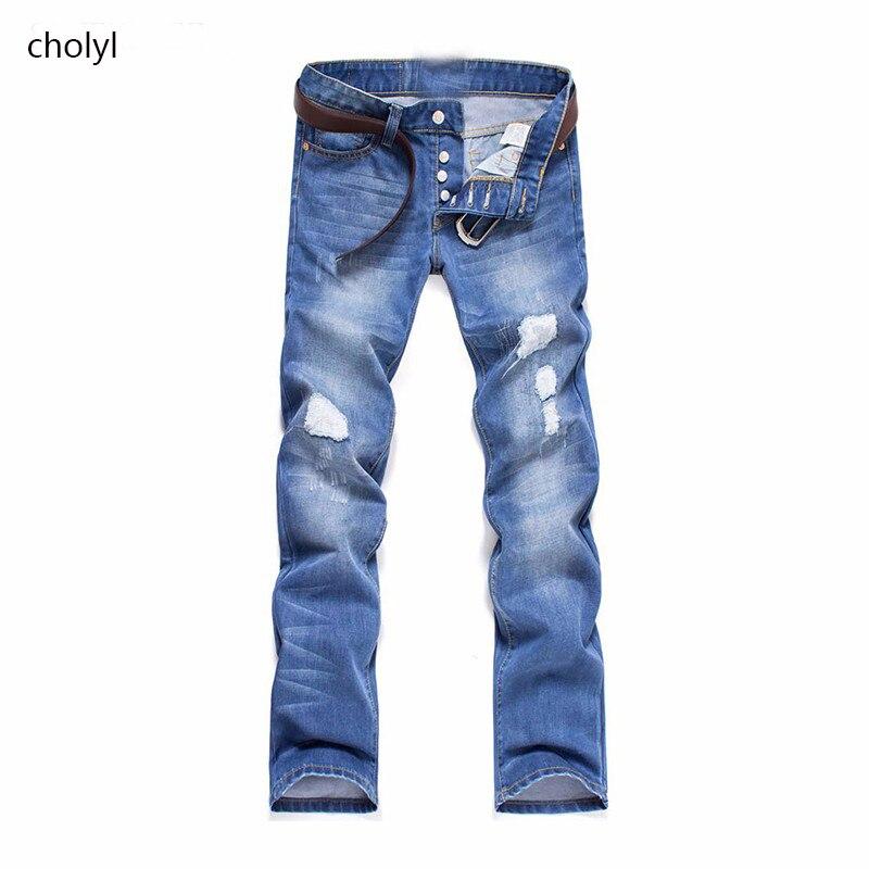 Hot Sale 2017 New Arrival Fashion Casual Slim Straight Designer Denim Jeans Men Retail Wholesale Men
