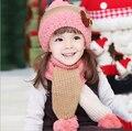 2015 do inverno da menina chapéu e lenço set crianças moda crochet bonnet gorro de malha rosa chapéu da neve cap ouvido proteção grosso cachecol quente