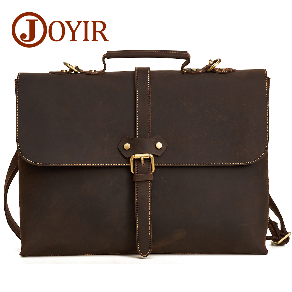 JOYIR Crazy Horse Genuine Leather Men Briefcase Messenger Laptop Bag Business Shoulder Bags Crossbody Messenger Handbag 6358