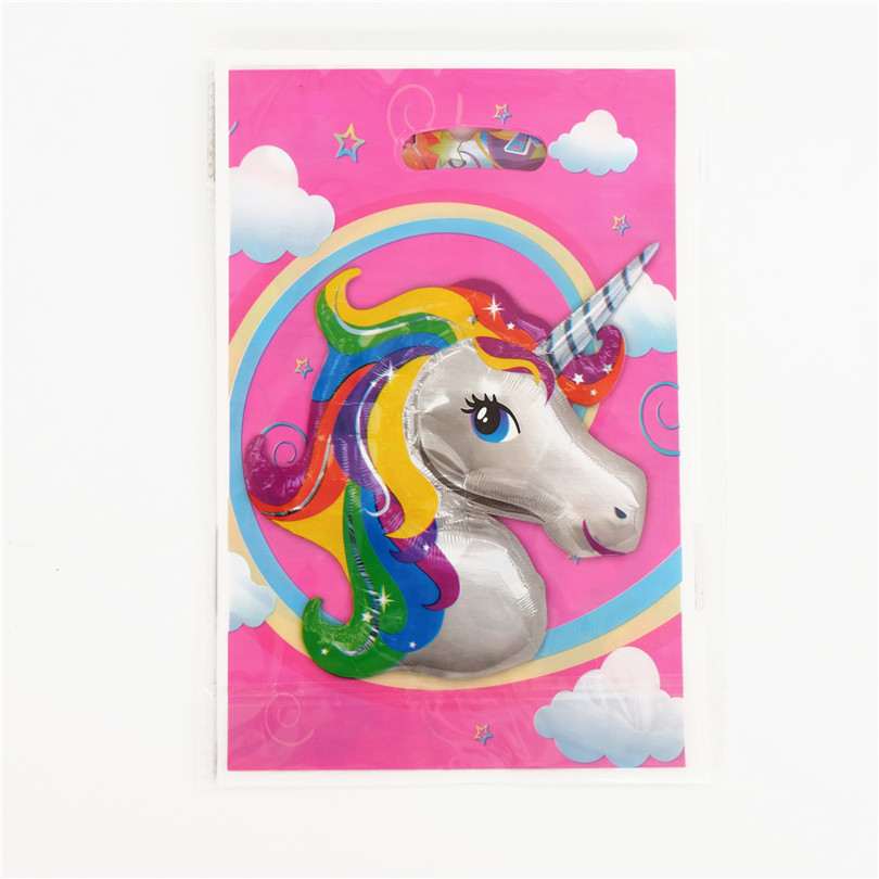 10PCS/Pack Cute Unicorn Theme Kids Favors Plastic Gifts Bag Happy Birthday Party Baby Shower Decoration Cartoon Cookie Loot Bags