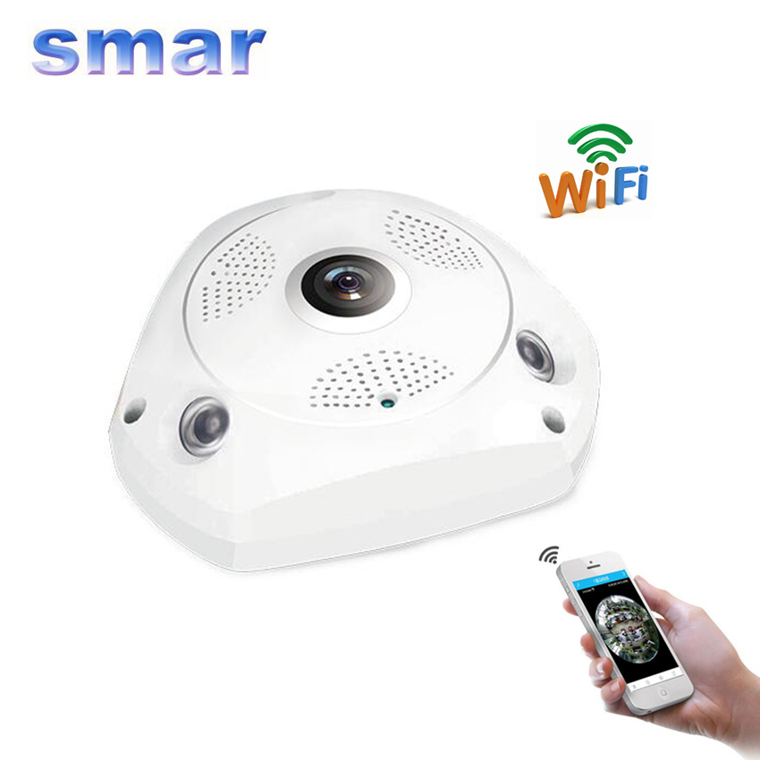 Smar 1.3MP 960P Wireless CCTV 360 Degree Panoramic IP Camera Fisheye HD Wi-Fi Camera Home Security System Two Way Audio P2P erasmart hd 960p p2p network wireless 360 panoramic fisheye digital zoom camera white