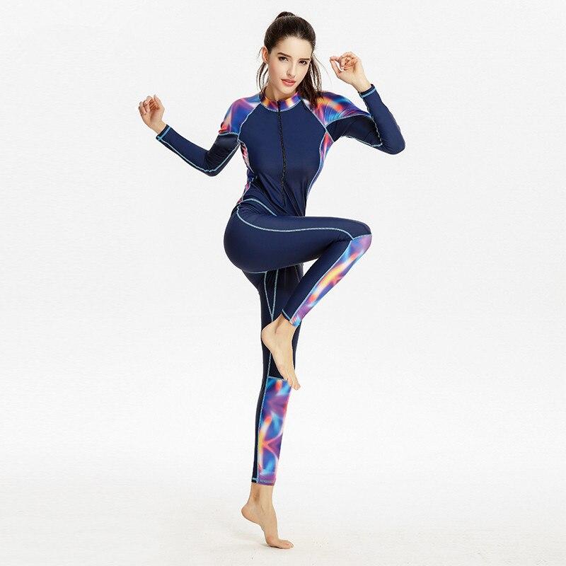 2017 הכי חדש הדפסת נשים בגדי ים בגד ים מקשה אחת שרוול ארוך חום בריכת גלישת חליפת צלילה בגדי ים ספורט מקצועי