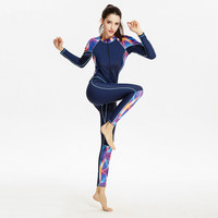 2017 Newest Women Print Swimwear Long Sleeve Warmth One piece Swimsuit Diving Swimming Surfing Suit Professional Sport Swimwear
