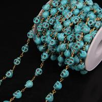 5Meter,8x10mm Size Skull Shape Blue Turquoises Link Chain,Turquoises Skull Brass Wire Wrapped Rosary Chains Necklace Jewelry