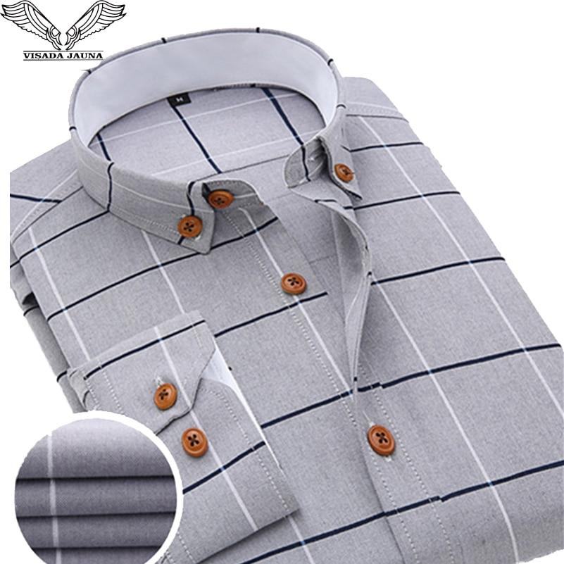 VISADA JAUNA 2017 Nové příchytky pánské košile pro volný čas s dlouhým rukávem Plaid Formální značkové oblečení Obchodní košile Man Chemise Homme N131