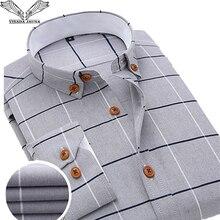VISADA JAUNA 2019 Männer Kariertes Hemd Casual Langarm Formale Marke Kleidung Business Shirts Kleid Slim fit Männer Camisas Masculina