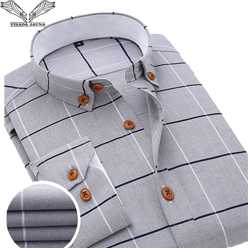 VISADA JAUNA 2019 Men Plaid Shirt Casual Long Sleeve Formal Brand Clothing Business Shirts Dress Slim Fit Men Camisas Masculina