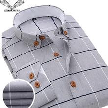 Visada jauna 2019 男性格子縞のシャツカジュアル長袖正式なブランド服ビジネススリムフィット男性 camisas masculina