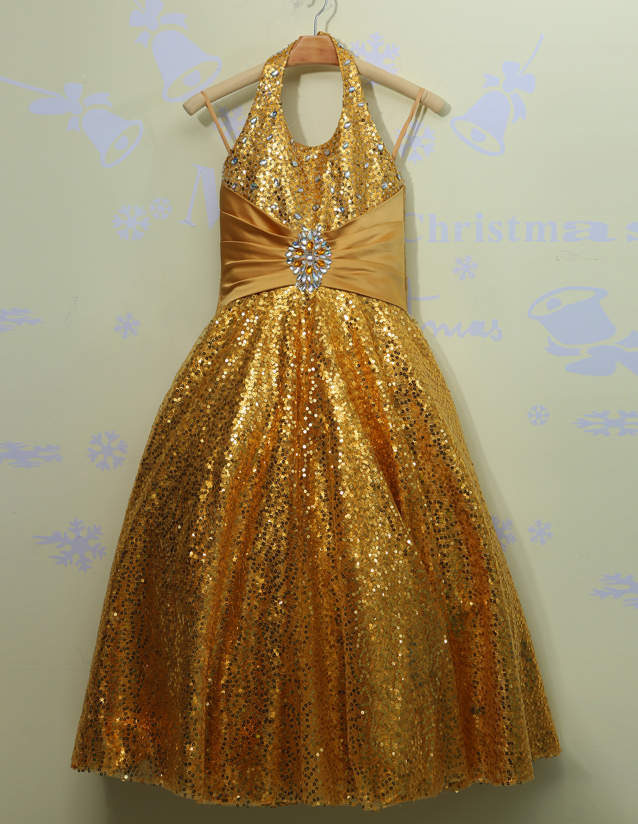 Stunning Beautiful Girls Pageant Dresses With Sequins Gold ...
