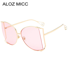 ALOZ MICC  Luxury Pearl Women Sunglasses Retro Oversized Half Frame Eyeglasses Female Shades UV400 Glasses Q467