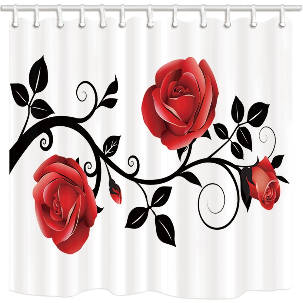 Red And Black Shower Curtain Set Us 15 59 35 Off Flower Shower Curtain Simple Style Red Rose Black Branch White Background Bathroom Mildew Resistant Polyester Shower Curtain Set In