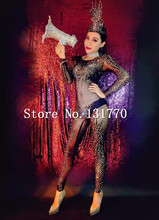 Black Sexy Perspective Female Singer Shiny Rhinestone Jumpsuit Women Stage Performance Dance Wear Prom Costumes Party Bodysuit