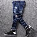 Calças de brim dos homens de impressão em cores da moda jean calças slim fit azul denim corredores de rua hip hop masculino novidade streetwear jean calças