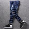 Moda hombres pantalones vaqueros de color pantalones de la mezclilla de impresión slim fit calle hip hop de mezclilla azul corredores masculinos novedad streetwear jean pantalones