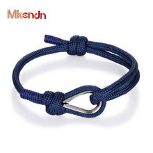 MKENDN Nieuwe Collectie Sport Camping Parachute Marineblauw Paracord Mannen Vrouwen Nautische Survival Touw Ketting Armband Outdoors Stijl(China)