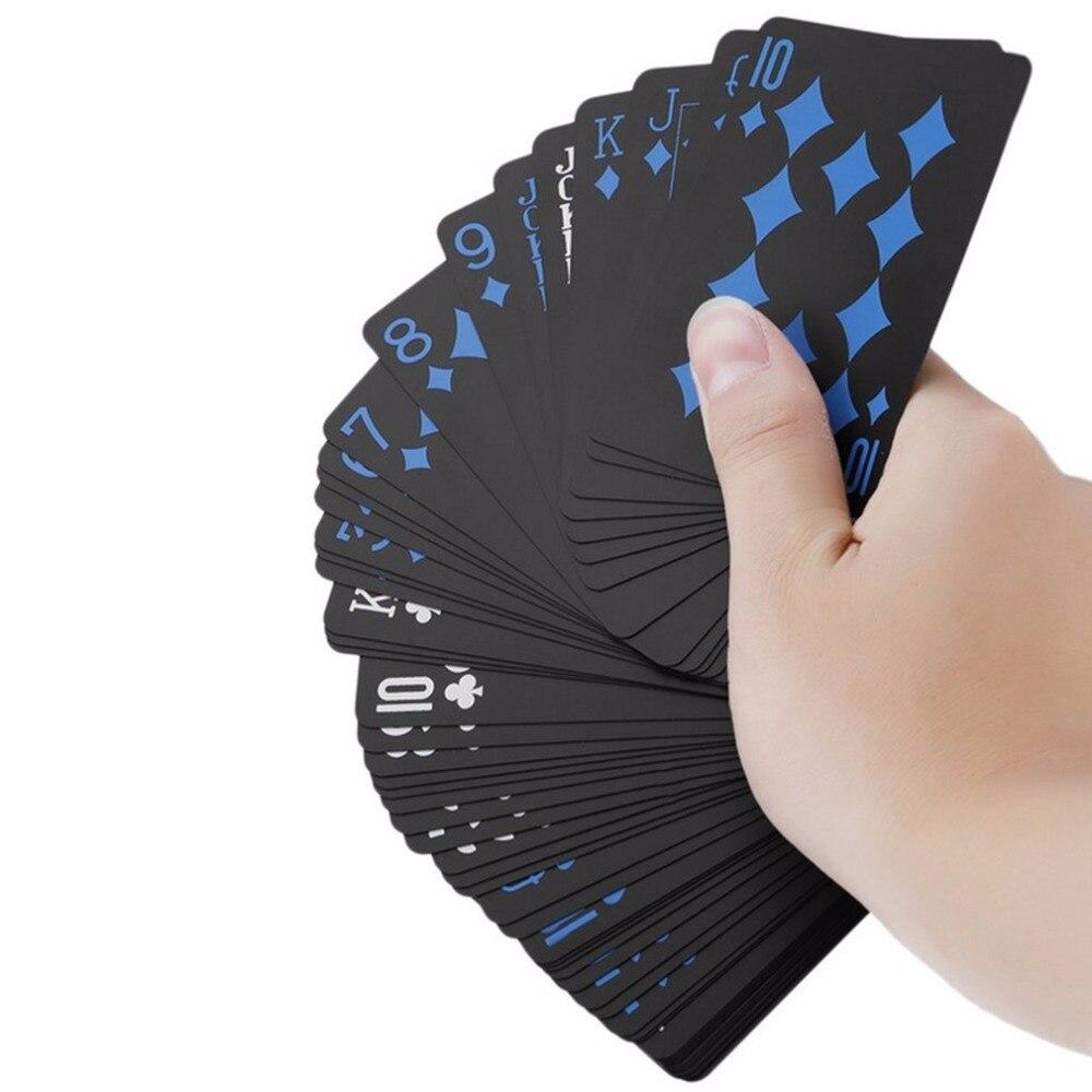 Trend 54pcs Deck Poker Waterproof PVC Plastic Playing Cards Set Classic Magic Tricks Tool Pure Color Black Magic Box Packed Play