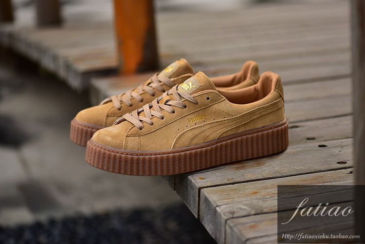 New arrive Puma by Rihanna Suede Creepers women and men's shoes Lace up Breathable Badminton Shoes chestnut Sneakers size 36 44