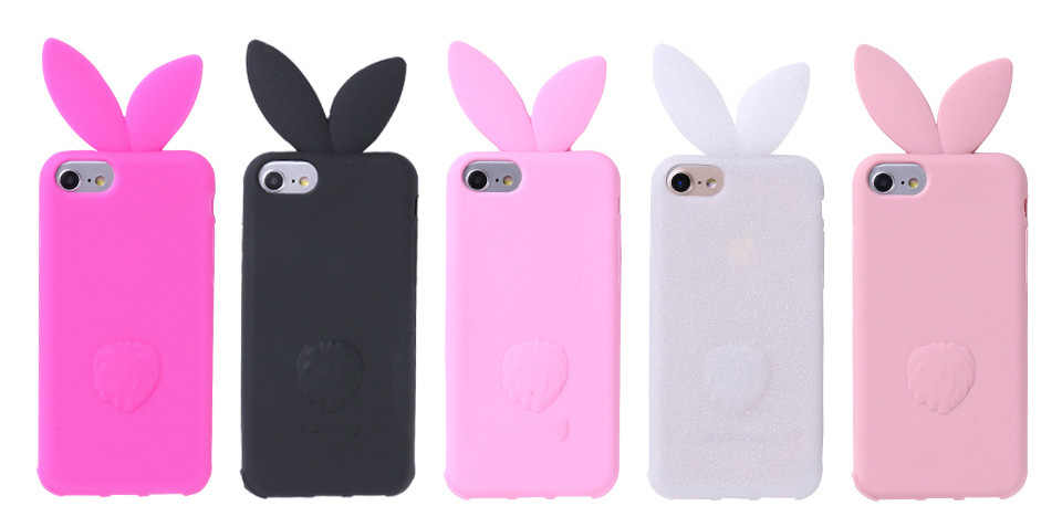 best deals on 0e782 c9737 3D cartoon Cute long ears Rabbit Ear Case For iPhone 5 5S SE Soft Silicon  For iPhone X XS MAX XR 6 6S 7 8 PLUS beard cat Cover