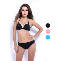 Solid Color Bikini Sets Sexy Swimsuit For Women Underwire Swimwear Push Up Bathing Suits Biquini