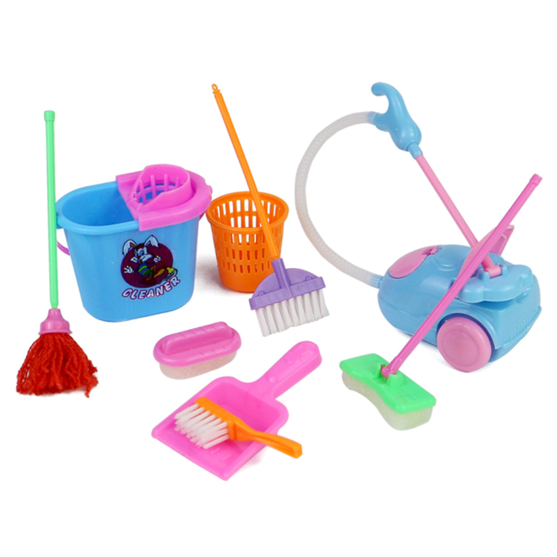 Hot 9Pcs Children Pretend Play Toy Kids Dolls Furniture Cleaning Playset Home Furnishing Funny Vacuum Cleaner Mop Broom Tools