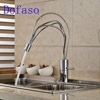Dofaso креативный кухонный весенний кран 360 градусов вращающийся Однорычажный смеситель для ванной холодной и горячей кран для кухни