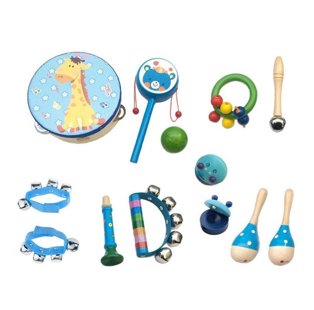 Instrumentos musicais para Crianças Mini Brinquedo Colorido Conjunto Das Meninas Dos Meninos da Banda Ritmo de Percussão de Madeira Pandeiro Castanholas Dedo Brinquedo Musical