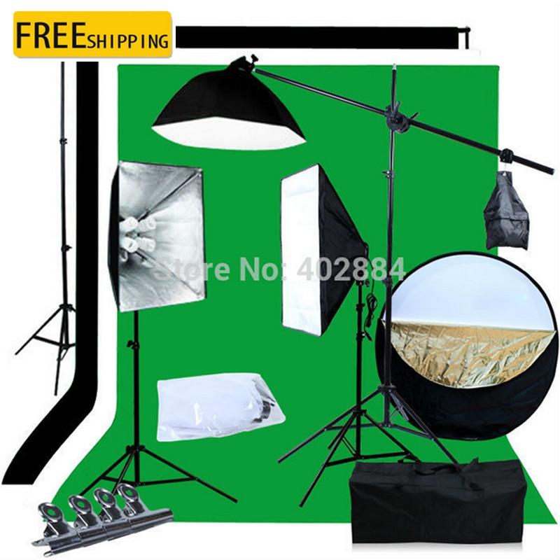 Photo Studio Softbox Kit 3x2M Zöld Fekete Fehér Muslin Háttér - Kamera és fotó