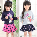 high quality 2016 Spring and autumn New Children Girl's 2PC Sets Skirt Suit cartoon baby sets dots skirt  kids