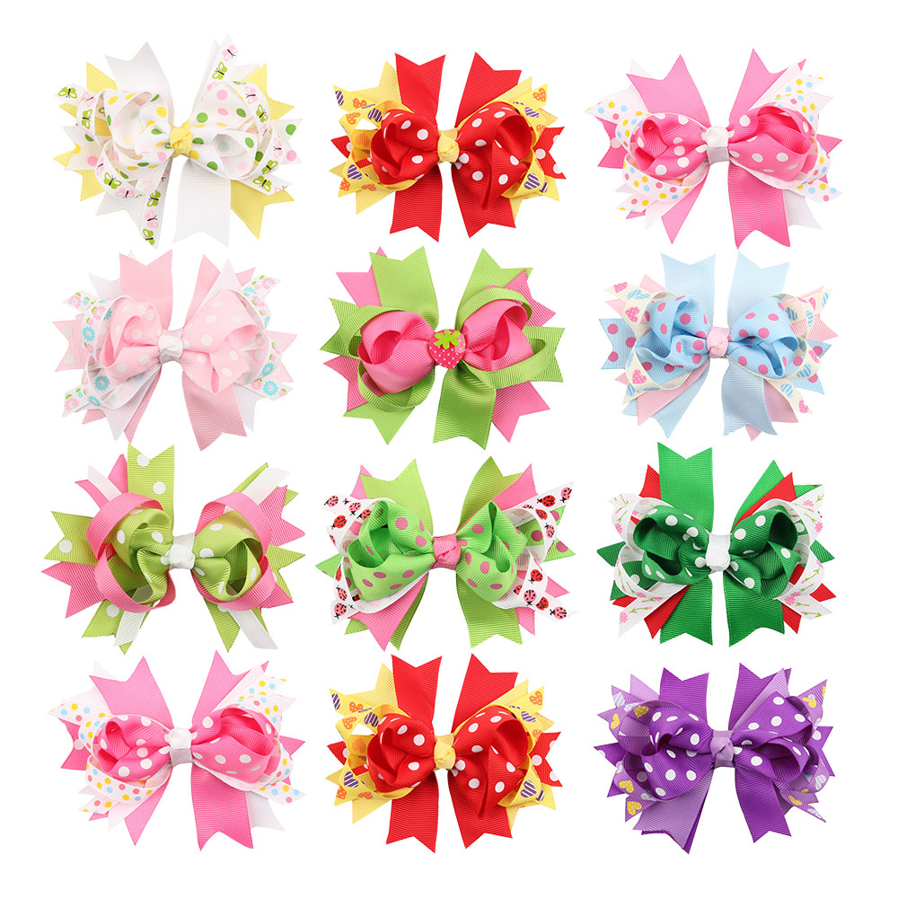 Stacked Princess Hair Bow Lined Alligator Clip 4.5