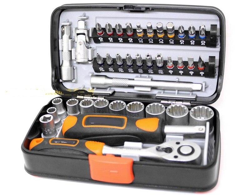 Nouveau 38 pièces Mini clé à cliquet ensemble 1/4 tournevis à douille tête hexagonale trox slot bit vélo réparation poignée outils S2