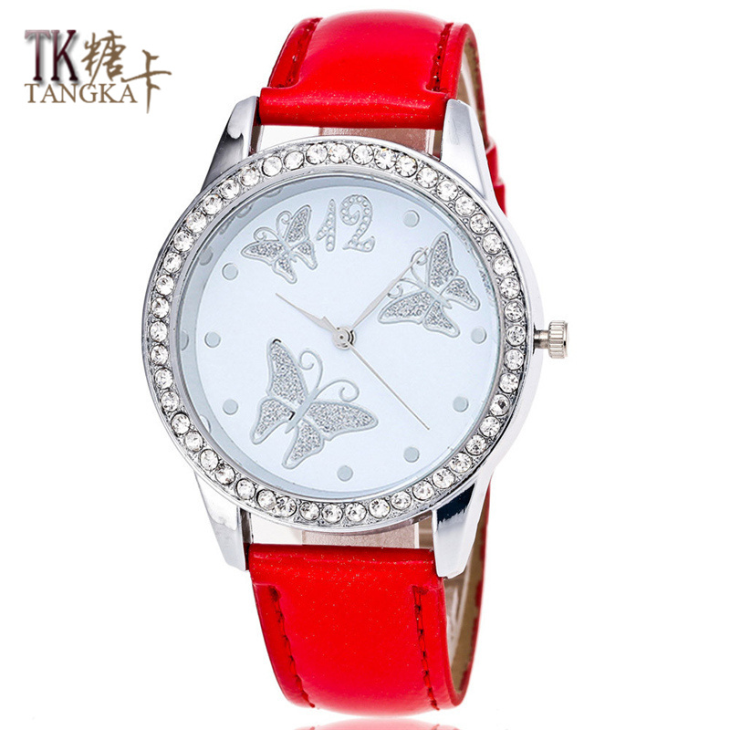 crystal butterfly lady girl watch 6 colors Leather watch band Luxury brand digital quartz watch woman giftcrystal butterfly lady girl watch 6 colors Leather watch band Luxury brand digital quartz watch woman gift