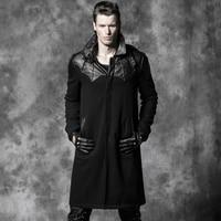 Gothic Punk Black Leather Patch Bat Wool Winter Trench Coat Men Handsome Steampunk Men Hero Theme Long Warm Jacket Pock Outwears