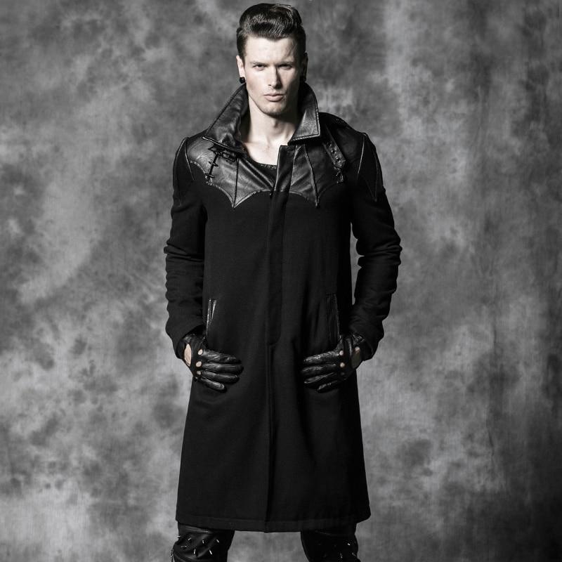 Gothic Punk Schwarz Leder Patch Bat Wolle Winter Trenchcoat Männer - Herrenbekleidung