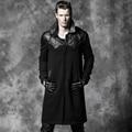 Patch de couro punk gótico preto bat hero tema steampunk masculino considerável dos homens de lã trincheira casaco de inverno casaco longo quente outwears
