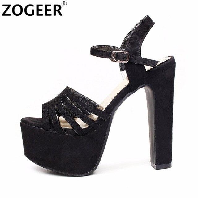 ce05b85c7c70b Plus size 48 Gladiator Women Sandals Summer Fashion Extreme High Heels 16  CM Platform Sandal Wedding Shoes Black white Red