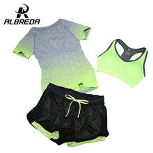 Albreda 2017 nouveau femmes yoga sport costume soutien-gorge ensemble 3 pièce femelle d'été à manches courtes sport running fitness formation vêtements