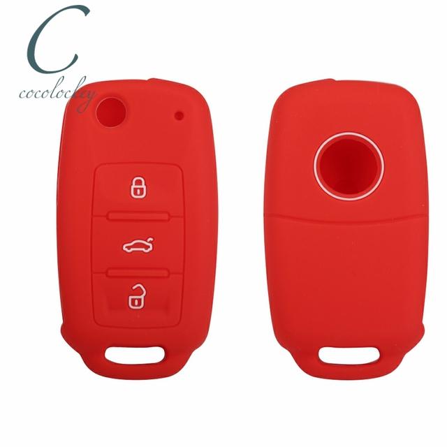 Cocolockey Car Key Case for VW Golf Jetta for Skoda Yeti Superb Rapid Octavia for SEAT Leon Ibiza 3 Button Silicone Key Cover