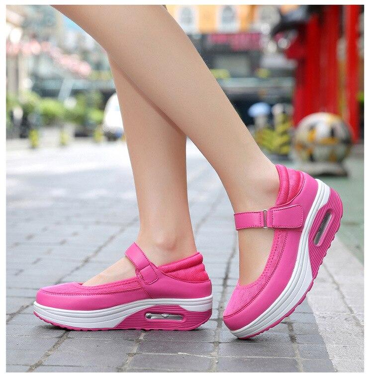 Altura Crescente Hook-loop Cunha Balanço Sapatos Sapatos