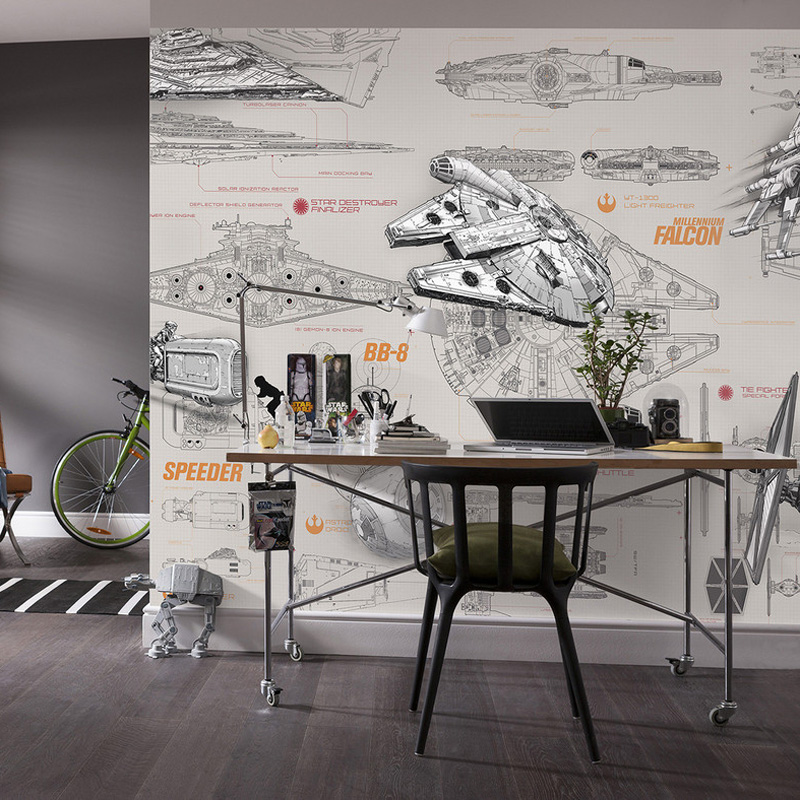 3D Star Wars Wallpaper Wall Mural Custom Spaceship Design Blueprint Photo Wallpaper Brick Wallpaper Kid Bedroom Hotel Room Decor