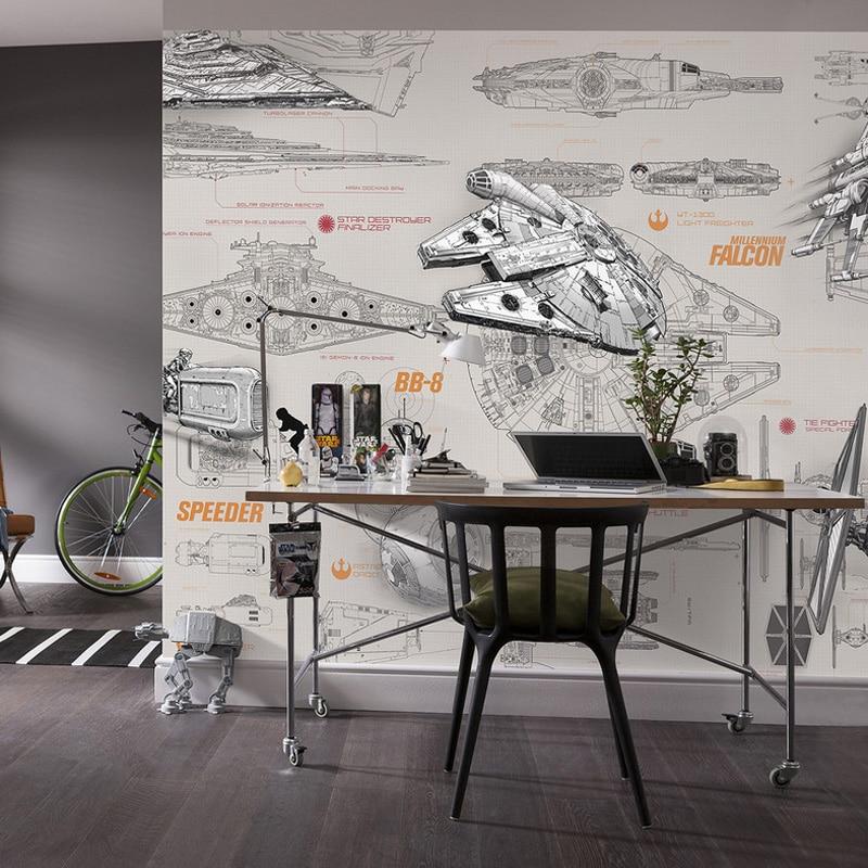 3D Star Wars Wallpaper Wall Mural Custom Spaceship Design blueprint Photo wallpaper Brick wallpaper Kid Bedroom Hotel Room decor