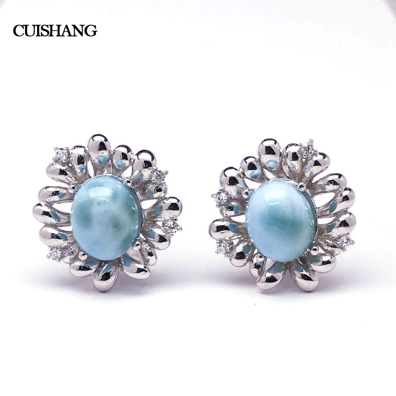 CSJ Natural Caribbean Larimar Earring Sterling 925 Silver Fine Jewelry Wedding Engagement Bands for Women Ladies