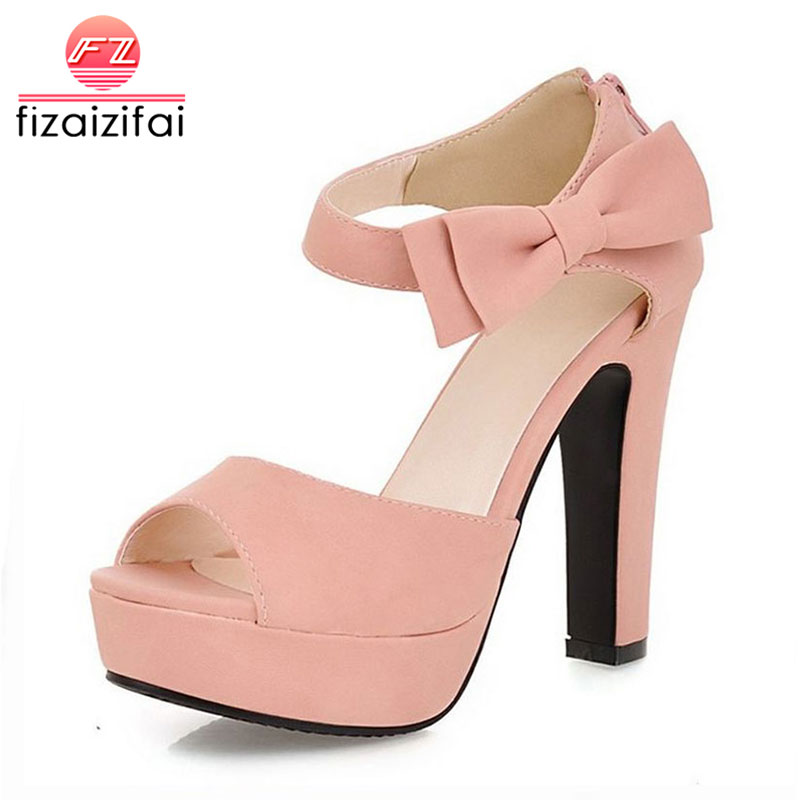 FizaiZifai Size 31-43 New summer Peep toe Ankle Strap Orange Sweet Thick High Heel Sandals Platform Lady Women Shoes qplyxco 2017 big small size 32 46 peep toe ankle strap thick high heel sandals platform ladies shoes women sandal 2095 page 6