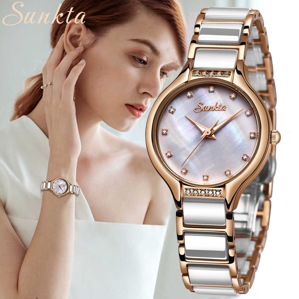 SUNKTA New Quartz Women Watches Waterproof Fashion Simple Feminine Watch Stainless Steel Ceramic Strap Watches Women Dress Clock