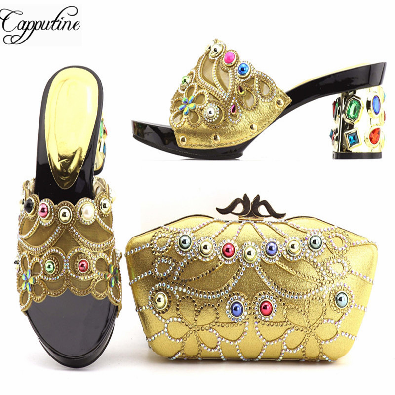 Capputine New Arrival African Rhinestone High Heels Shoes And Bag Set Latest Elegant Shoes And Bag Set For Party On SaleCapputine New Arrival African Rhinestone High Heels Shoes And Bag Set Latest Elegant Shoes And Bag Set For Party On Sale