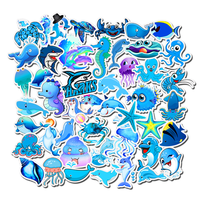 49PCS Ocean Animal Cartoon Stickers Shark Kid Stickers For Girls Travel Case Bicycle Laptop Notebook Anime Stickers Set
