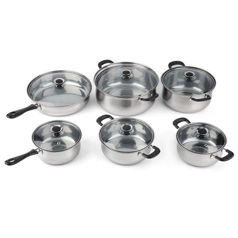 12 unids Utensilios de cocina set de acero inoxidable calor y romper ...
