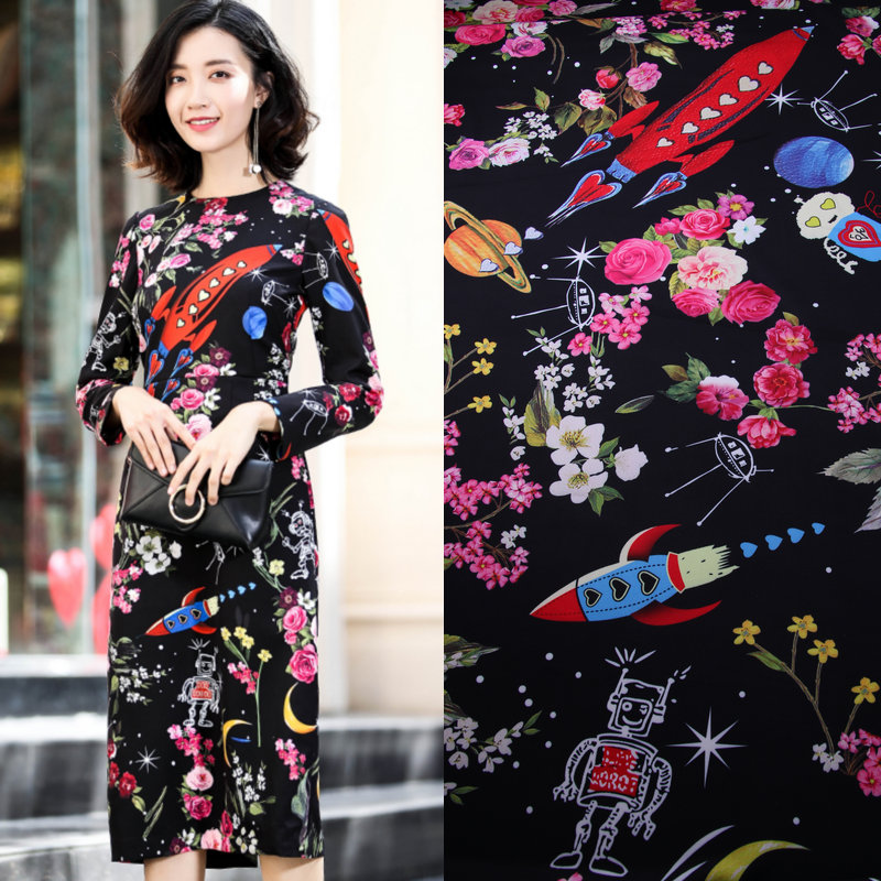 1 7meter 1 piece space and rocket printed stretch polyester fabric tissue women cady dress floral